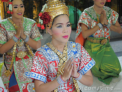 Thai Dancers in Traditional Dress Editorial Stock Image