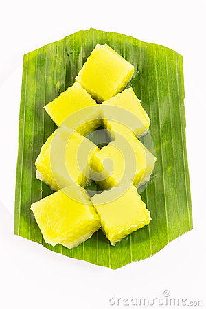 Thai dessert called Thai sweetmeat on banana leaf isolated on white background