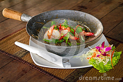 Thai dish with king prawns