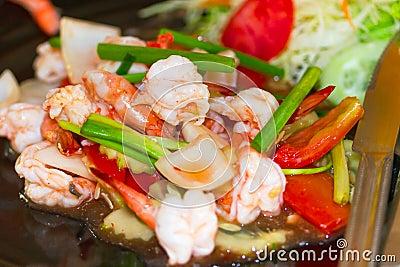 Thai dish with king prawns and lemon grass