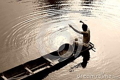Thai Fisherman in Boat