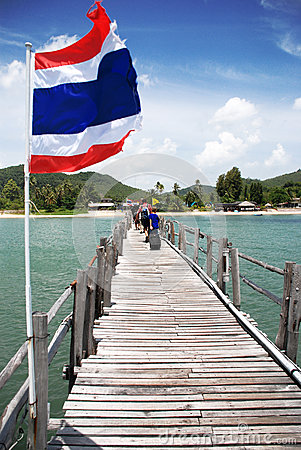 Thai flag on the sky