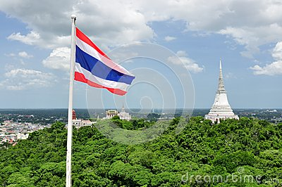 Thai Flag & White Pagoda in Khao Wang Royal Palace