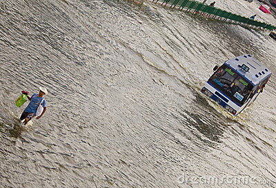 Thai flood hits Central of Thailand Editorial Stock Photo