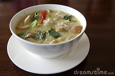 Thai food chicken green curry with rice