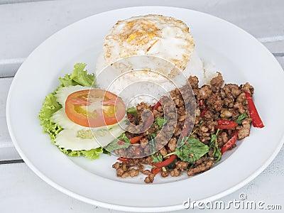 Thai food, pork with basil