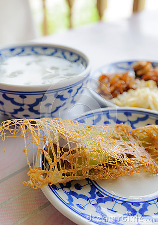 Thai food rice in ice water