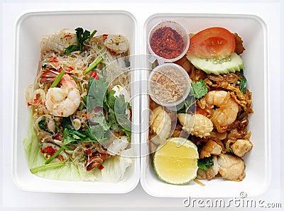 Thai food seafood salad and noodles