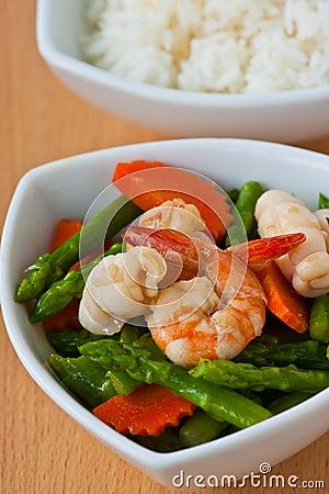 Thai food, Stir-fried asparagus with seafood