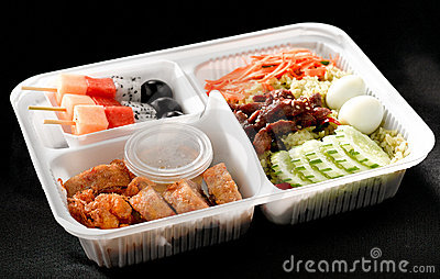 Thai food style ready made in bento rice box
