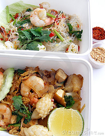 Thai food takeaway dishes