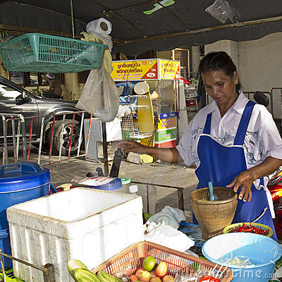 Thai food vendor preparing food Editorial Photography