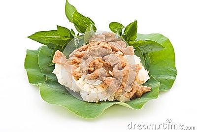 Thai foods, stirred pork with sticky rice