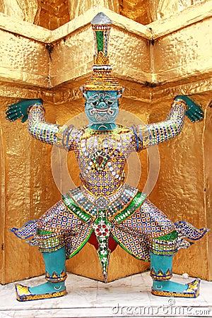 Thai giant stand around gold pagoda