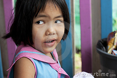 Thai girl in the kindergarten Editorial Photography