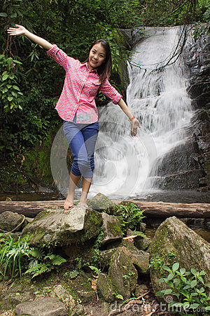 Thai Girl At Siribhum Water Fall