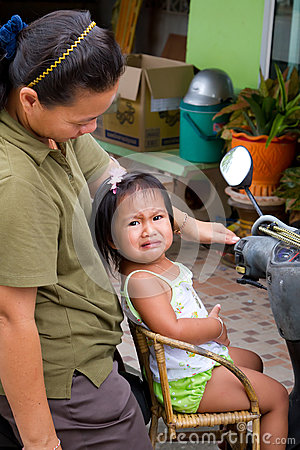 Thai girl sitting on chair fitted to the motor bike Editorial Photo