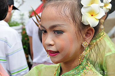 Thai Girl in traditional dress Editorial Stock Image