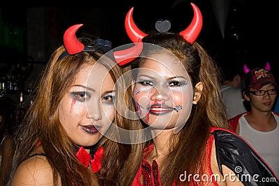 Thai girls celebrates Halloween on October 31 2010 Editorial Stock Image