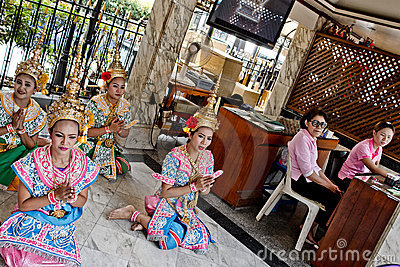 Thai girls in traditional costumes Editorial Stock Photo