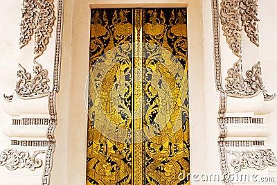 Thai golden painting door