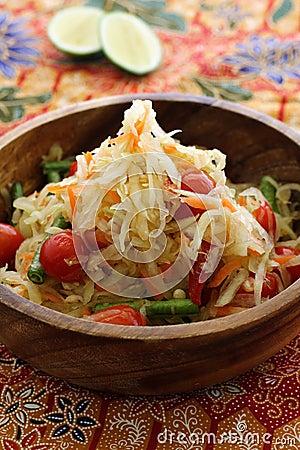 Free Thai Green Papaya Salad Royalty Free Stock Images - 9935359