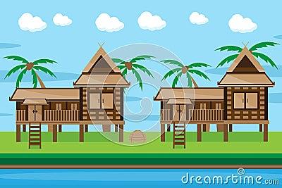 Thai house design stock vector image 57269150 for Minimalist house thailand