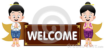 Thai Kids With Welcome Sign Royalty Free Stock Photography ...