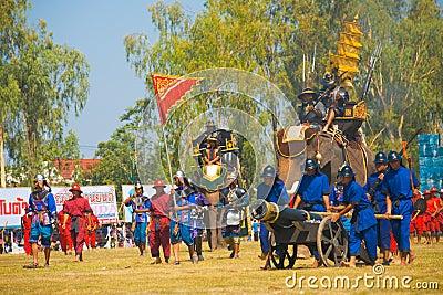 Thai King Enter Battle Elephant Saddle Editorial Photo