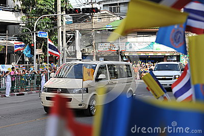 Thai King and Queens Motorcade Editorial Stock Photo
