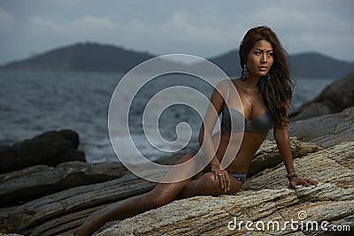 Thai Lingerie Model at Sunset