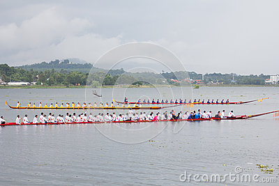 Thai long boat traditional compete Editorial Photo