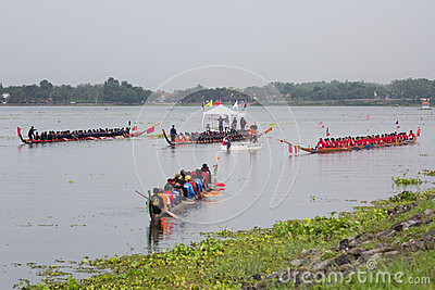 Thai long boat traditional compete Editorial Stock Photo