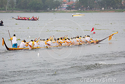 Thai long boat traditional compete Editorial Image