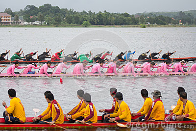 Thai long boat traditional compete Editorial Photography