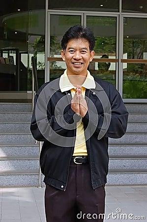 Thai man greeting
