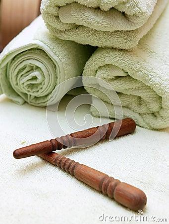 Free Thai Massage Sticks And Towel Royalty Free Stock Photo - 267785