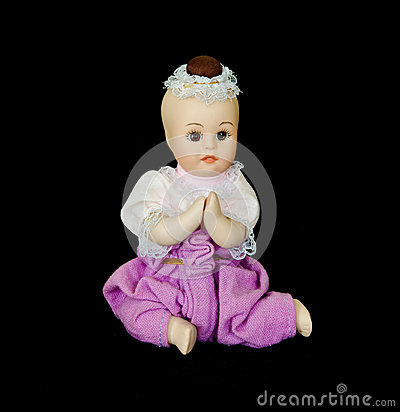 Thai medieval child doll with black isolation
