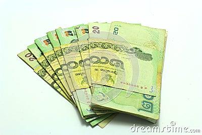 Thai Money 20 Baht Isolated On White