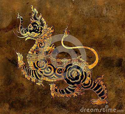 Thai mythology lion Sigha painting on the wall