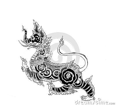 Thai mythology lion Sigha pen illustration