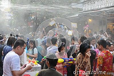 Thai New Year Celebrations in Bangkok Editorial Stock Photo