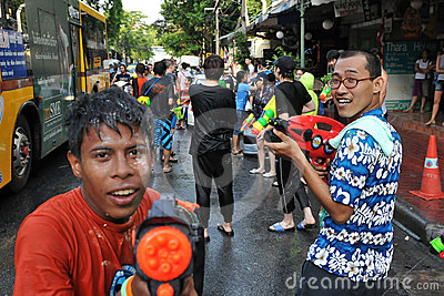 Thai New Year Revellers Enjoy a Water Fight Editorial Image