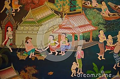 Thai old lifestyle 300 years ago. Happy kingdom.