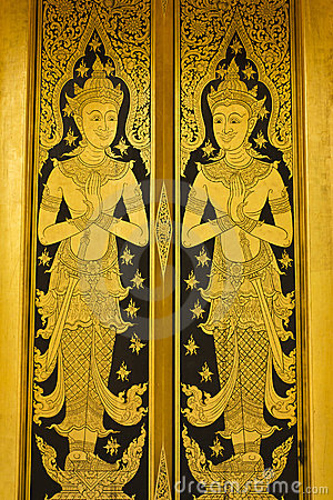 Thai painting color gold door ,