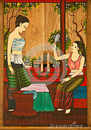 Thai painting of women.