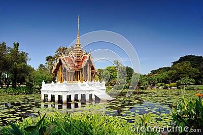Thai pavilion in lotus pond at Suan Luang Rama I