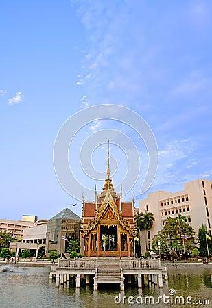 Thai pavilion on water