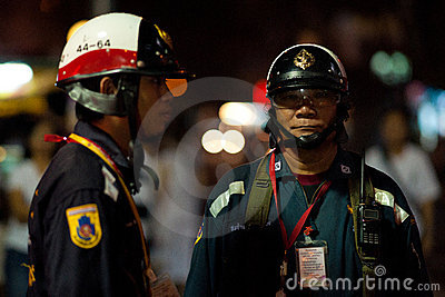 Thai Police overseeing security Editorial Stock Image