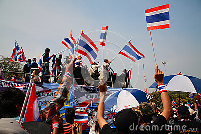 Thai protesters march to Government house Editorial Photography